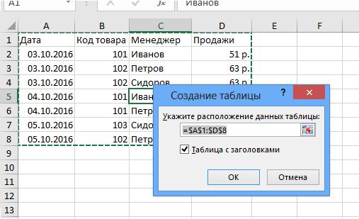 Создание таблицы Excel