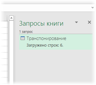 Панель управления запросами Power Query